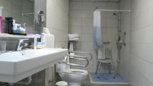 Badkamer van de aangepaste hotelkamer voor rolstoelers in Hotel Tigotan.