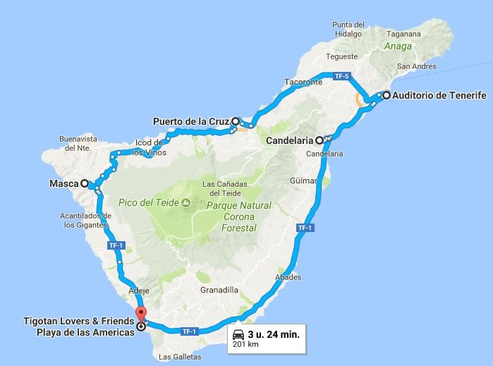 De route van onze tour met de huurauto over het eiland.
